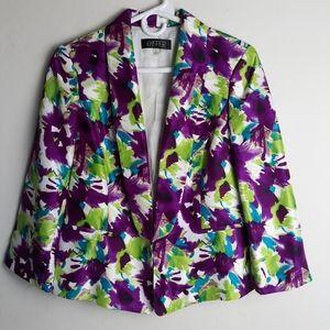 Kasper abstract floral suit jacket magenta teal